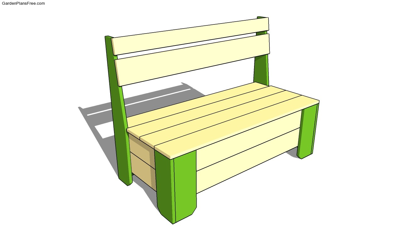 Project Working Idea Plans for garden bench with storage