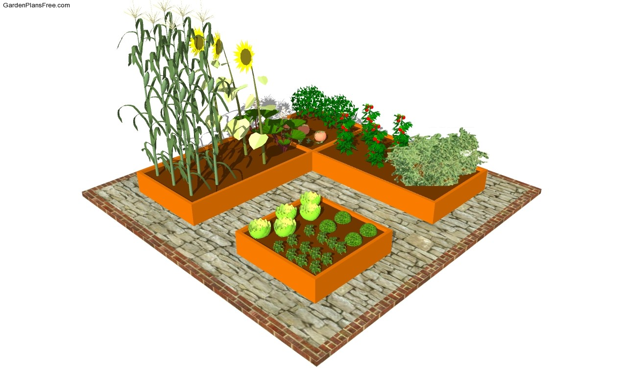 Raised garden bed plans free free garden plans how to for Small backyard vegetable garden design