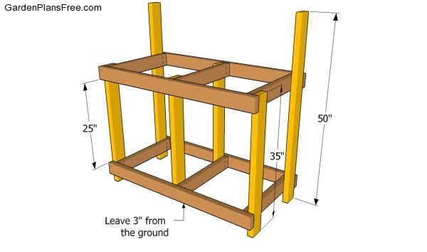 Building the frame of the potting bench