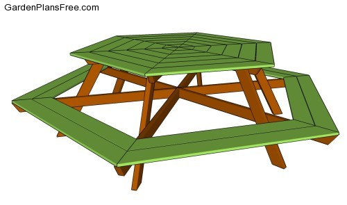 free plans build hexagon picnic table | Woodworking DIY Projects