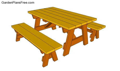 building a picnic table with separate benches