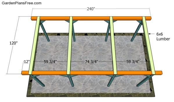 Fitting the top rails - Outdoor Pavilion Plans Free Garden Plans - How To Build Garden