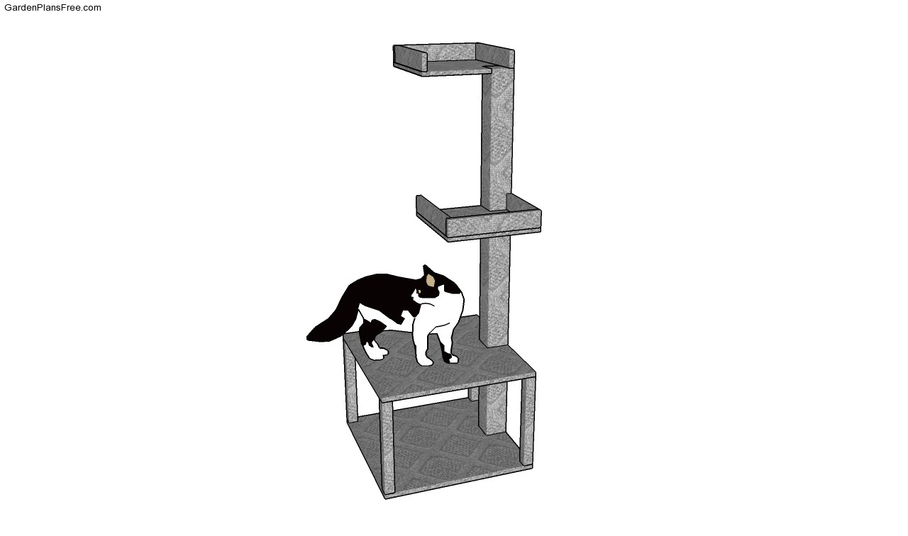 Cat house plans free garden plans how to build garden for Cat play tower plans