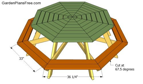 free octagon shaped picnic table plans hexagon picnic table plans ...