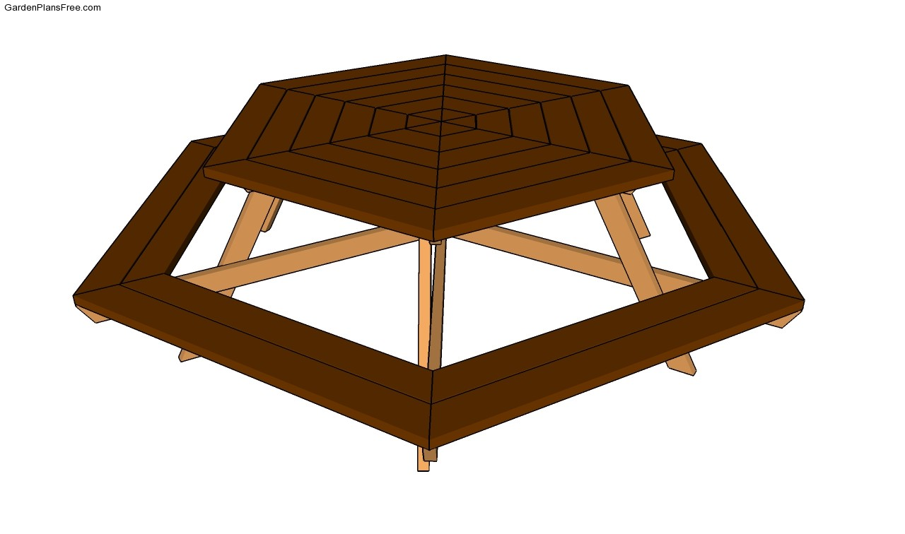 Hexagon picnic table plans Octagon Picnic Table Plans Free Round
