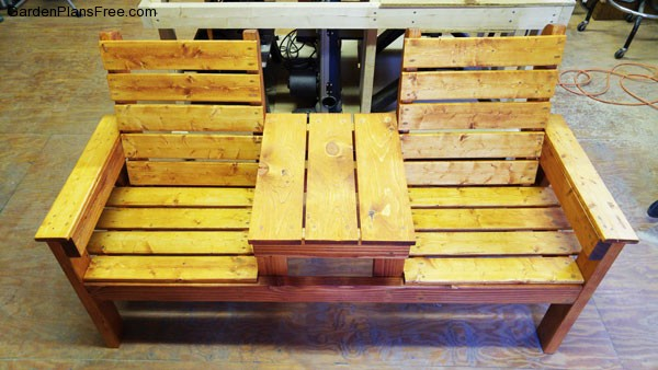 diy double chair bench with table free garden plans how to build