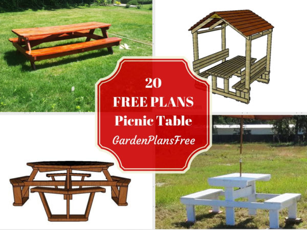 20 Absolutely Free Picnic Table Plans for your Garden ...